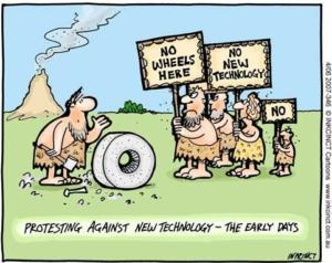 Caricature humoristique sur les nouvelles technologies avec des personnages de l'âge de pierre
