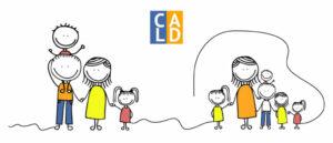 Illustration colorée de deux familles