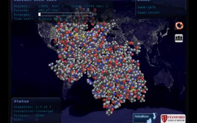 le projet Folding@Home, nous voyons un écran d'ordinateur sur lequel il y a la carte du Monde avec tous les ordinateurs de particuliers connectés représentés par des points