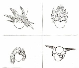 croquis visages dragon ball