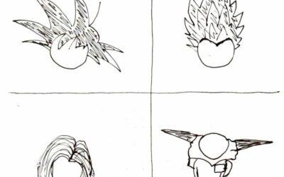croquis visages dragon ball