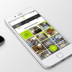 Écran de l'application sur la sélection de plusieurs photos