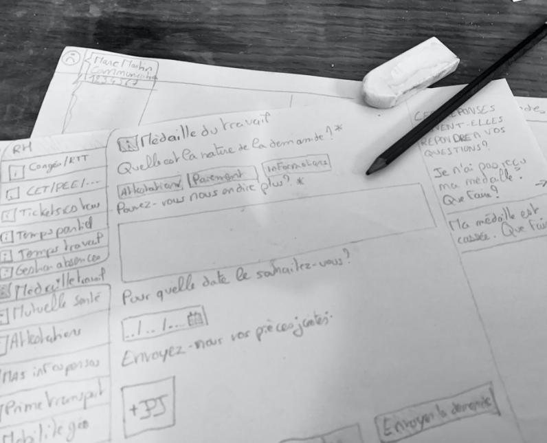 Photo de dessins d'interfaces et de parcours utilisateurs fait à la main