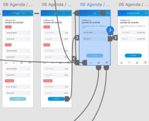 Photo d'un prototype d'interface avec les interactions sur un parcours utilisateur