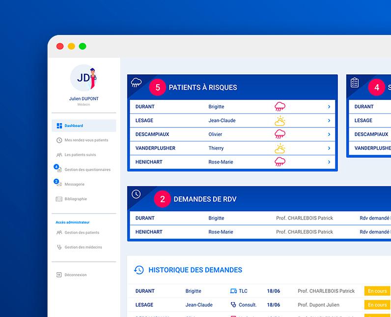 Screen des écrans de l'application Co-vie-apres