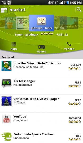Capture d'écran de Android Market